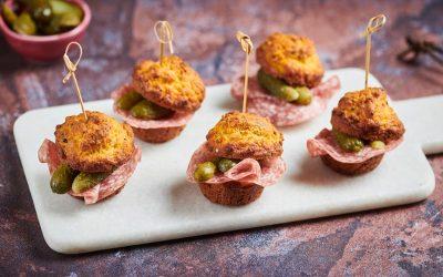 Salami Muffins with Pecorino Cheese