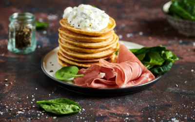 Buckwheat pancakes with Italian prosciutto and burrata cheese