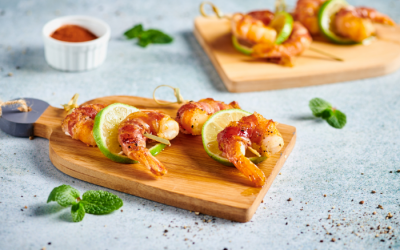 Shrimp and pancetta skewers
