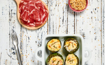 Stuffed artichokes with Coppa and Parmesan cheese