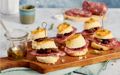 Salty parmesan scones with salami, olives, and thyme