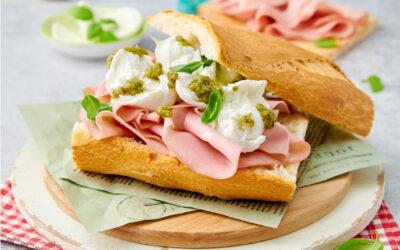 Sandwich with mortadella, green sauce and mozzarella